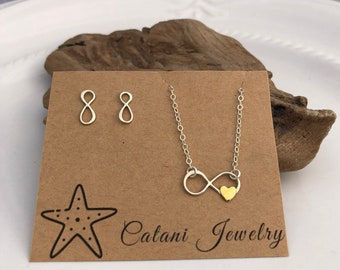 Infinity Necklace and Earring Set - Sterling Silver - Jewelry Gift Set - Jewelry for Her