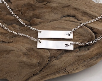 Custom Best Friends Arrow Bar Necklace - Best Friend Gift - Arrow Necklace - Best Friends Necklace - Set of 2 Necklaces - Sterling Bar