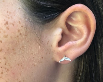 NEW - Whale Tail Stud Earrings - Sterling Silver