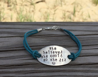 Leather Mantra Bracelet
