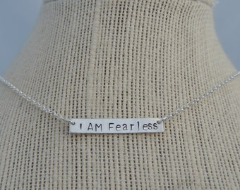 I AM Fearless Bar Necklace