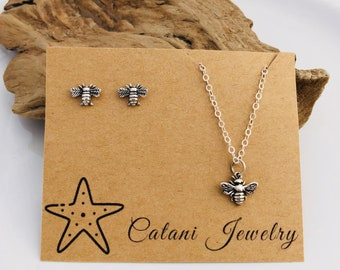 Bee Necklace and Earring Set - Sterling Silver - Jewelry Gift Set - Jewelry for Her