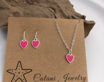 Pink Enamled Heart Necklace and Earring Set - Sterling Silver - Jewelry Gift Set - Jewelry for Her