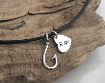 Custom Fishing Neckalce - Personalized Fish Hook Necklace - Initial Necklace - Heart Initial - Sterling Silver - Hand Stamped