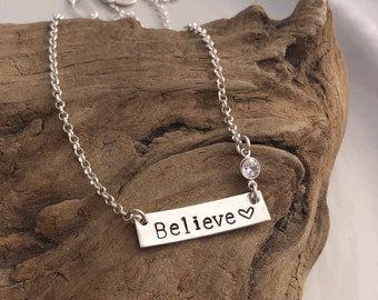 Custom Believe Necklace w/Crystal
