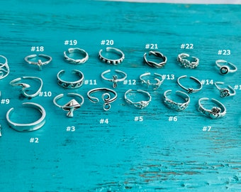 SUMMER SALE & NEW Items- Sterling Silver Toe Rings - Adjustable Toe Rings-Dolphin-Anchor-Dragonfly-Flower-Wave-Heart-Cross-Leaves-Claddaugh