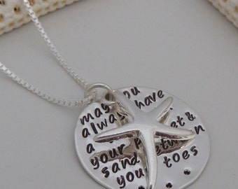 May you always have a shell in your pocket and sand between your toes - Sterling Silver Hand Stamped Beach Necklace - Starfish Necklace