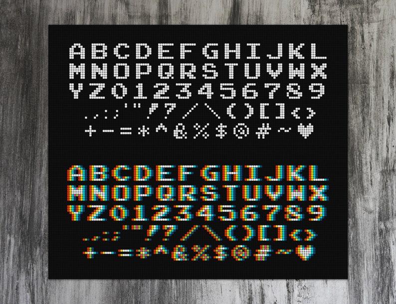 Arcade Alphabet Font Cross Stitch Pattern image 0
