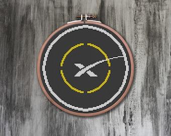 SpaceX ASDS Landing Zone Cross Stitch Pattern