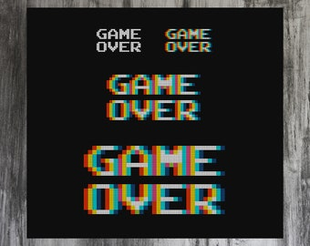Game Over 4-in-1 Cross Stitch Pattern