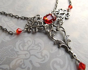 Red Wedding Necklace Art Nouveau Necklace Game of Thrones Jewelry Silver Art Deco Jewelry Fantasy Jewelry- Rapture