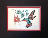 Hummingbird Fuchsia 8X10 Matted Art Card Tlingit Northwest Native American Artist
