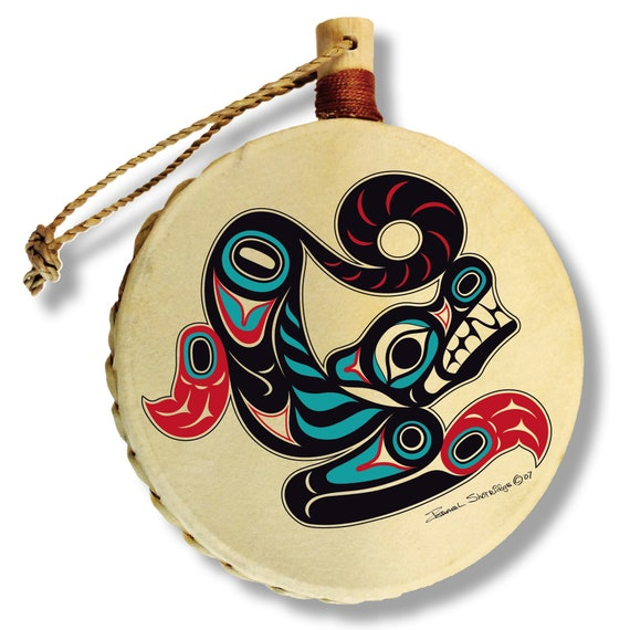 EAGLE /& SALMON Holiday Drum Ornament by Israel Shotridge Tlingit Northwest Native American Artist