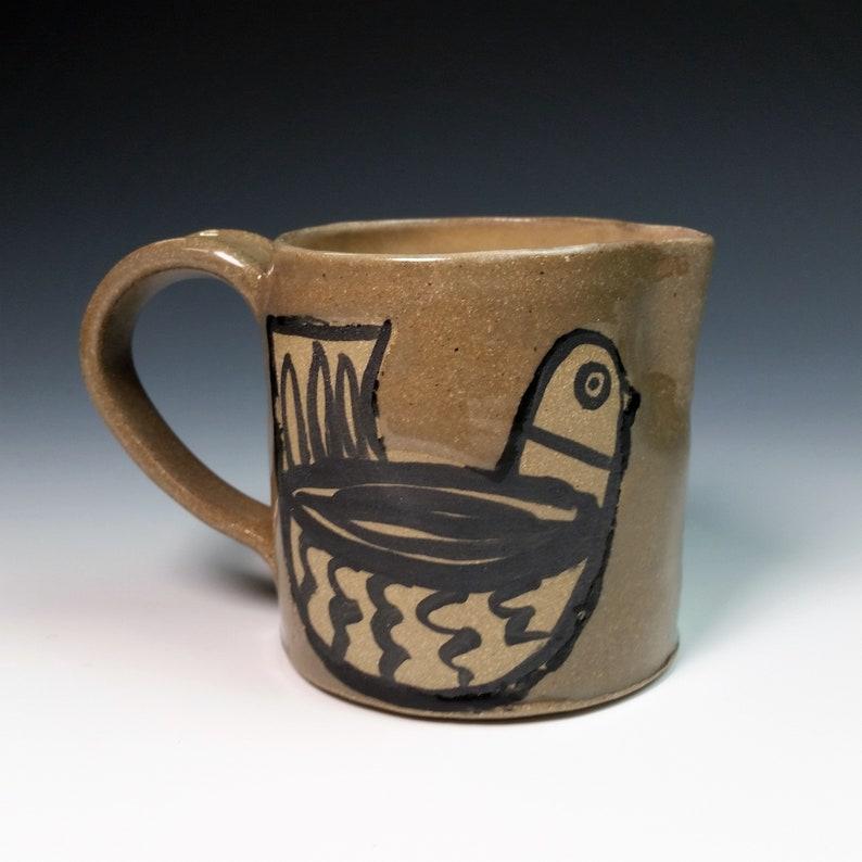 Scandinavian bird stoneware pitcher in grey, handmade and hand-painted  ceramic, cream pourer