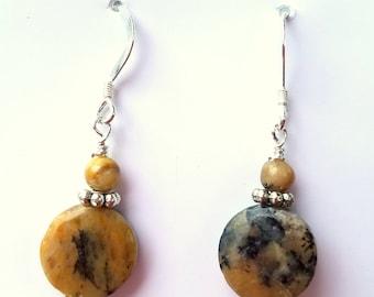 Black Moss Opal Gemstone Earrings