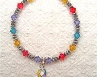 Autism Awareness Bracelet multi-color swarovski crystals with multi-color autism awareness ribbon