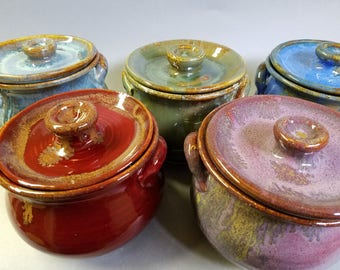 Custom order Set of 4 Stoneware Soup Crocks with lids