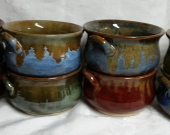 Set of 8 stoneware soup crocks