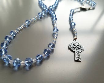 Full Length Hand Made Crystal Rosary in blue and clear crystals with Celtic cross