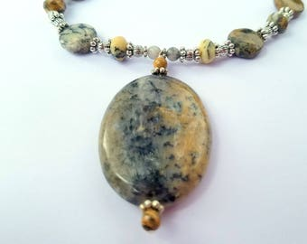 Black Moss Opal Gemstone Necklace