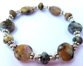 Black Moss Opal Gemstone Bracelet