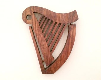 Celtic Harp Wood Trivet - Large