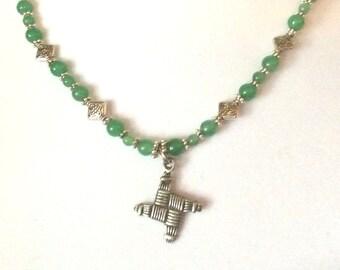 St Brigid's cross with  Aventurine  Necklace