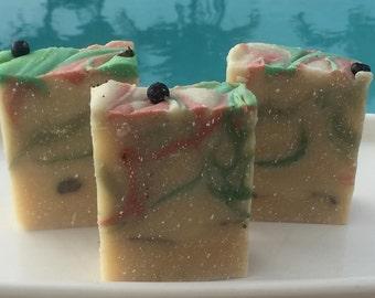 Snowy Evergreen Soap Handmade in Hawaii Artisan Soap,Organic Honey,Holiday,Gift,Fir,Cedarwood,Spruce,Pine,French Green Clay