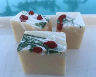 Hawaiian Ohelo Berry Handmade in Hawaii Artisan Soap Guest Set of 3,Honey,Silk,Valentines Day,Holiday,Gift,Mint,Rosemary,Birthday Gift
