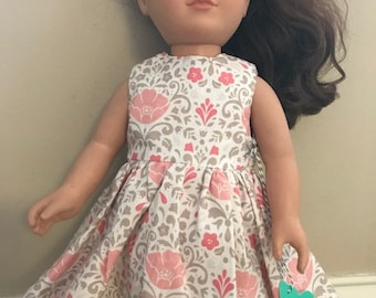 """18"""" Doll Pink and Tan Everyday Dress"""