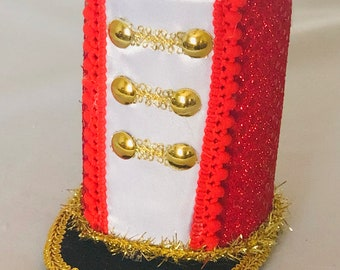 or fascinator Blue Yellow Red White Gold Nutcracker Toy Soldier Inspired Mini Top Hat Headband - Holiday Photo Prop or Pageant