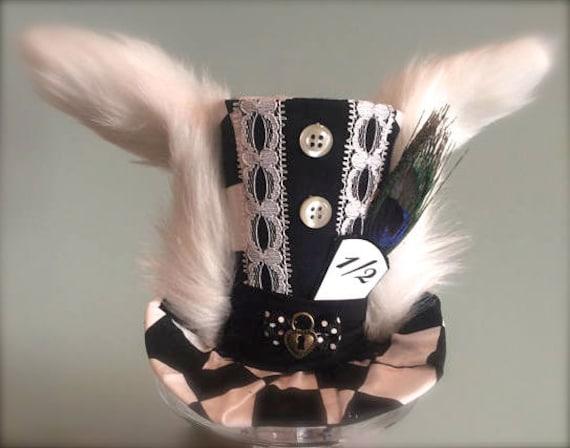 Boys Top Hat Wedding Hat White Rabbit Costume Fascinator Alice in Wonderland Hat Birthday Hat Tea Party Hat White Rabbit Mini Top Hat