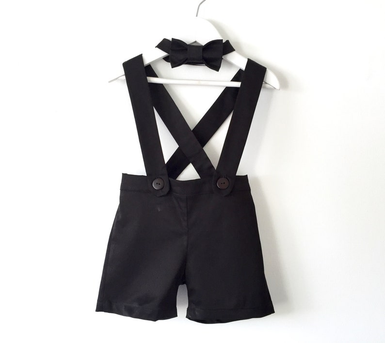 Baby boy suspender shorts black shortalls and bow tie ring image 0