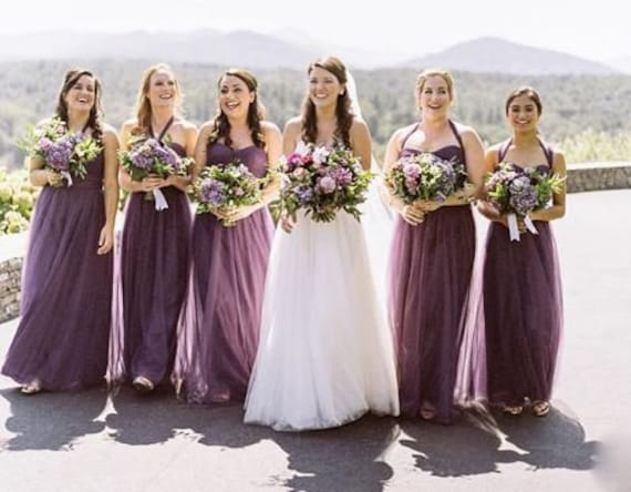 Bridesmaid Tulle Dresses in Dark Purple and Lilac Shade