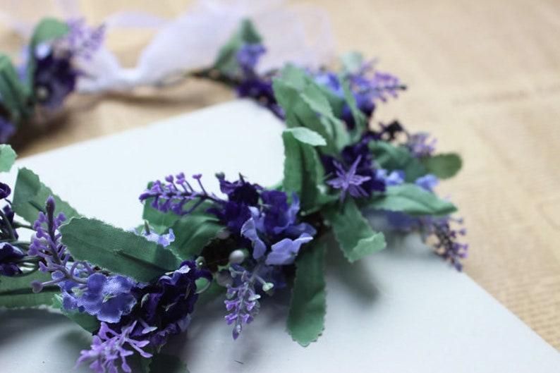 Hoop Purple Lilac Floral,Silk Flowers Crown Halo Lavender Wedding Head Wreath Simple,Rustic,Fantasy