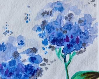 Blue Hydrangeas  original watercolor painting small keepsake,with mat sleeve,