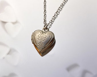 Delicate Heart Necklace Heart Locket Necklace Small Gold Heart Locket 14kt Gold Filled Tiny Locket Pendant Heart Necklace