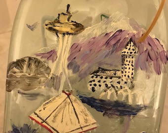 Hand Painted Seattle Clear Glass Wine Bottle Cheese Tray/Platter