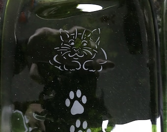 Cat Pawprint Etched Green Glass Wine Bottle Cheese Tray/Platter