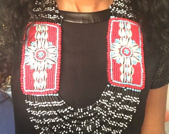 Crowie shell beaded statement necklace