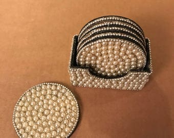 Beaded pearl coasters