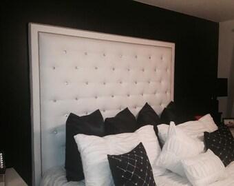 diamond tufted vintage velvet headboard with nailhead border etsy. Black Bedroom Furniture Sets. Home Design Ideas