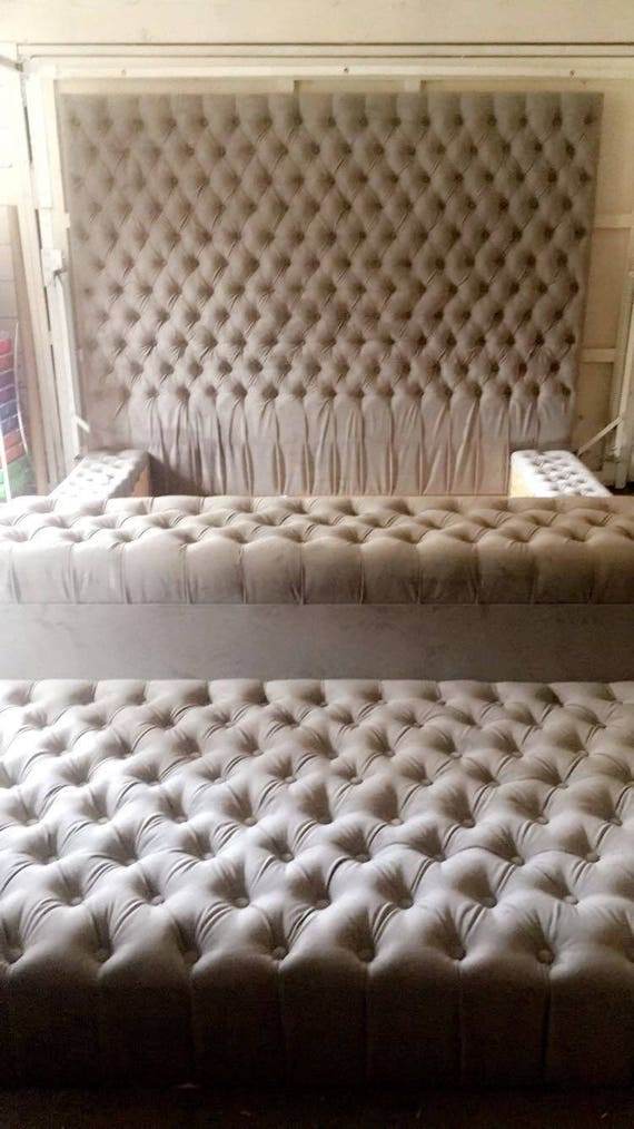 Brilliant Velvet Oversize Tufted Platform Bed With Tufted Storage Bench And Tufted Ottoman King Bed Evergreenethics Interior Chair Design Evergreenethicsorg