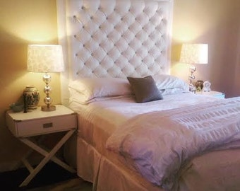 Crystal Diamond Tufted White Faux Leather Headboard with Border (Queen, Extra Tall)
