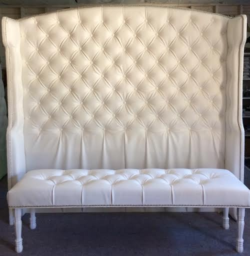 Diamond Tufted Slightly Arched Wingback Headboard And Bench Etsy