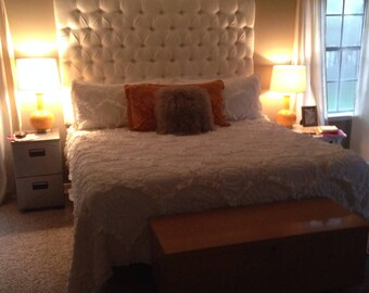 "Diamond Tufted Linen Headboard (King, 48"" tall)"