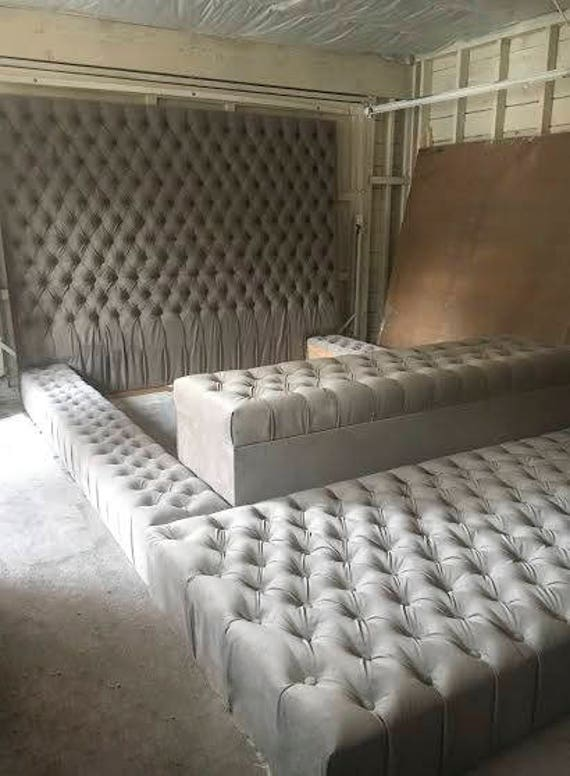 Fabulous Velvet Oversize Tufted Platform Bed With Tufted Storage Bench And Tufted Ottoman King Bed Caraccident5 Cool Chair Designs And Ideas Caraccident5Info