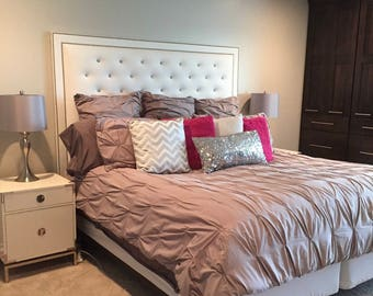White Faux Leather, Crystal Button Tufted Headboard with Double Nailhead Border (King, Extra Tall)
