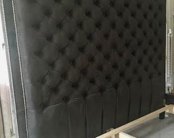 Velvet Diamond Tufted Headboard with Double Nailhead Border (King, Extra tall) HEADBOARD ONLY