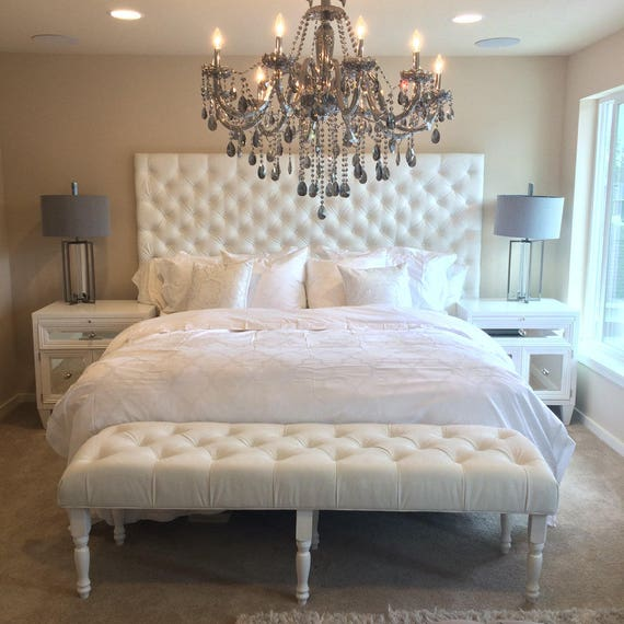first rate 880ed e5455 Extra-Wide King Diamond Tufted Headboard, Bed Frame and Bench Set in White  Velvet (Wide King, Extra Tall)